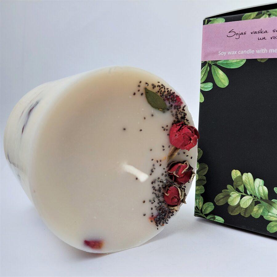 Sojas vaska svece ar augiem un rožu aromātu - L izmērs