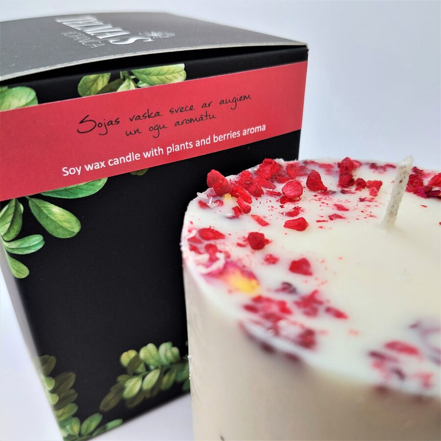 Soy wax candle with aroma and decors of berries - L Size