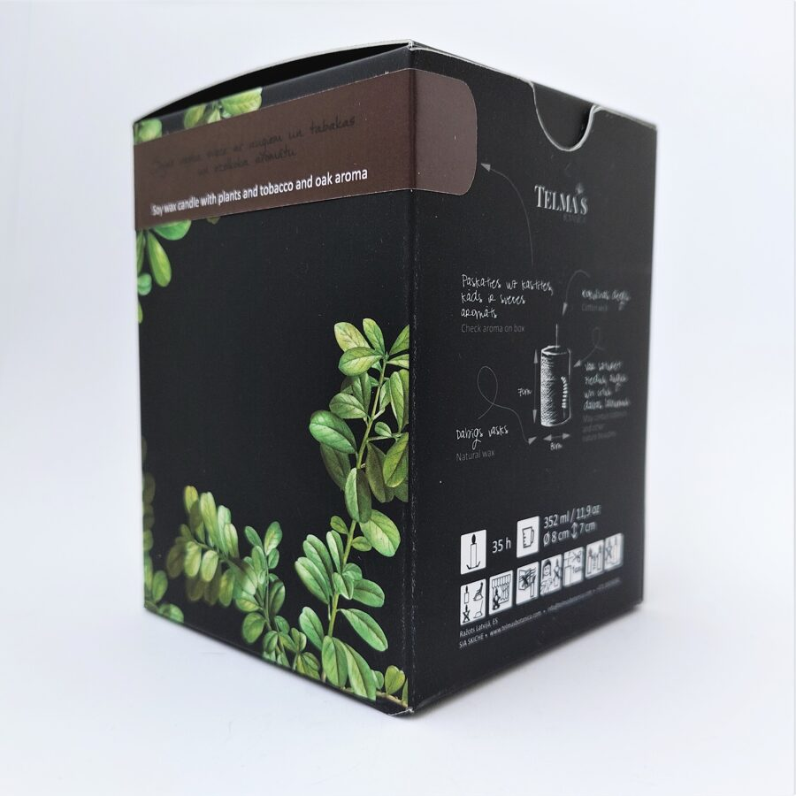 Sojas vaska svece ar augiem un tabakas un ozolmizas aromātu - L izmērs
