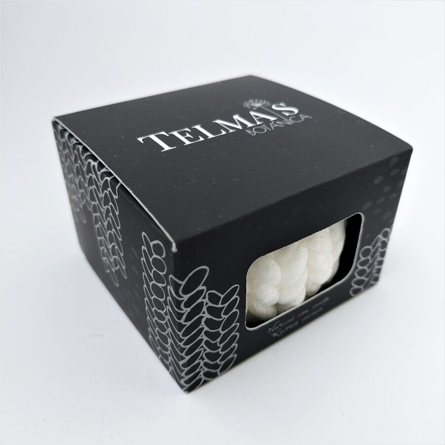 """Knitted candle """"Little Coziness""""/ white - in box"""