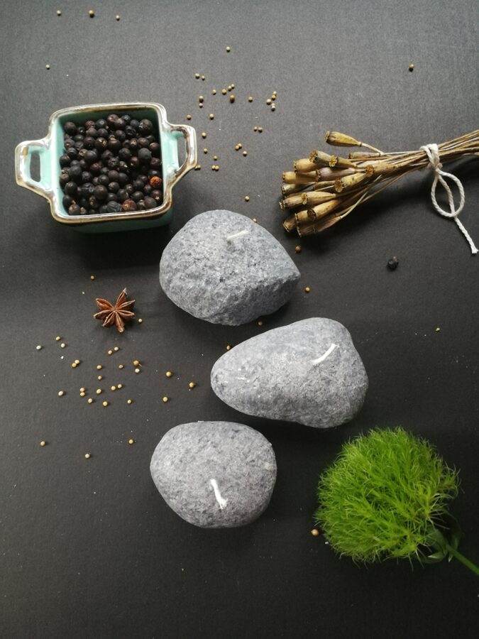 Stone candles or pebble candles made of vegetable stearin wax, small, 4 candle set