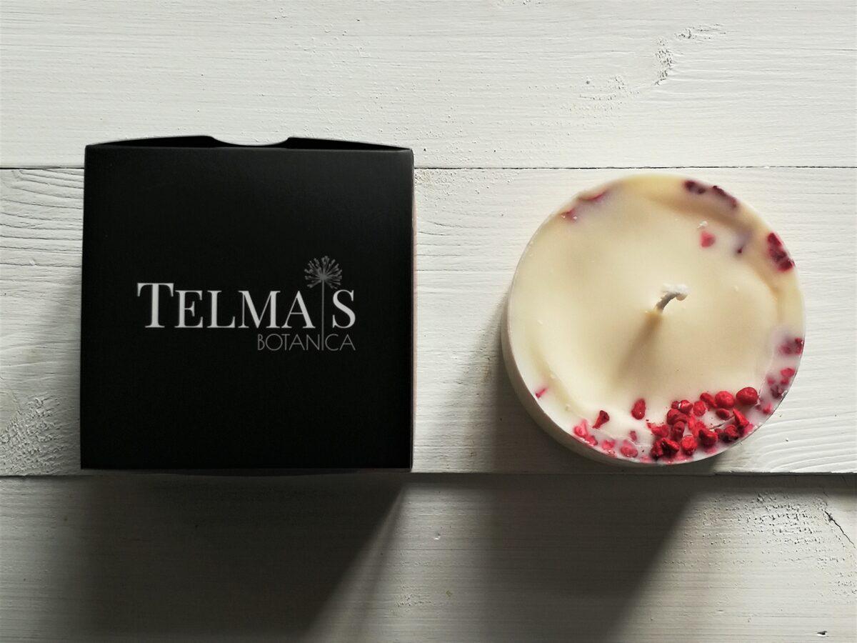 Sojas vaska svece ar augiem un ogu aromātu aromātu - S izmērs