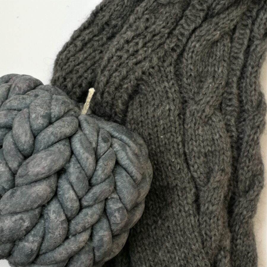 """Knitted candle """"Coziness""""/ gray"""