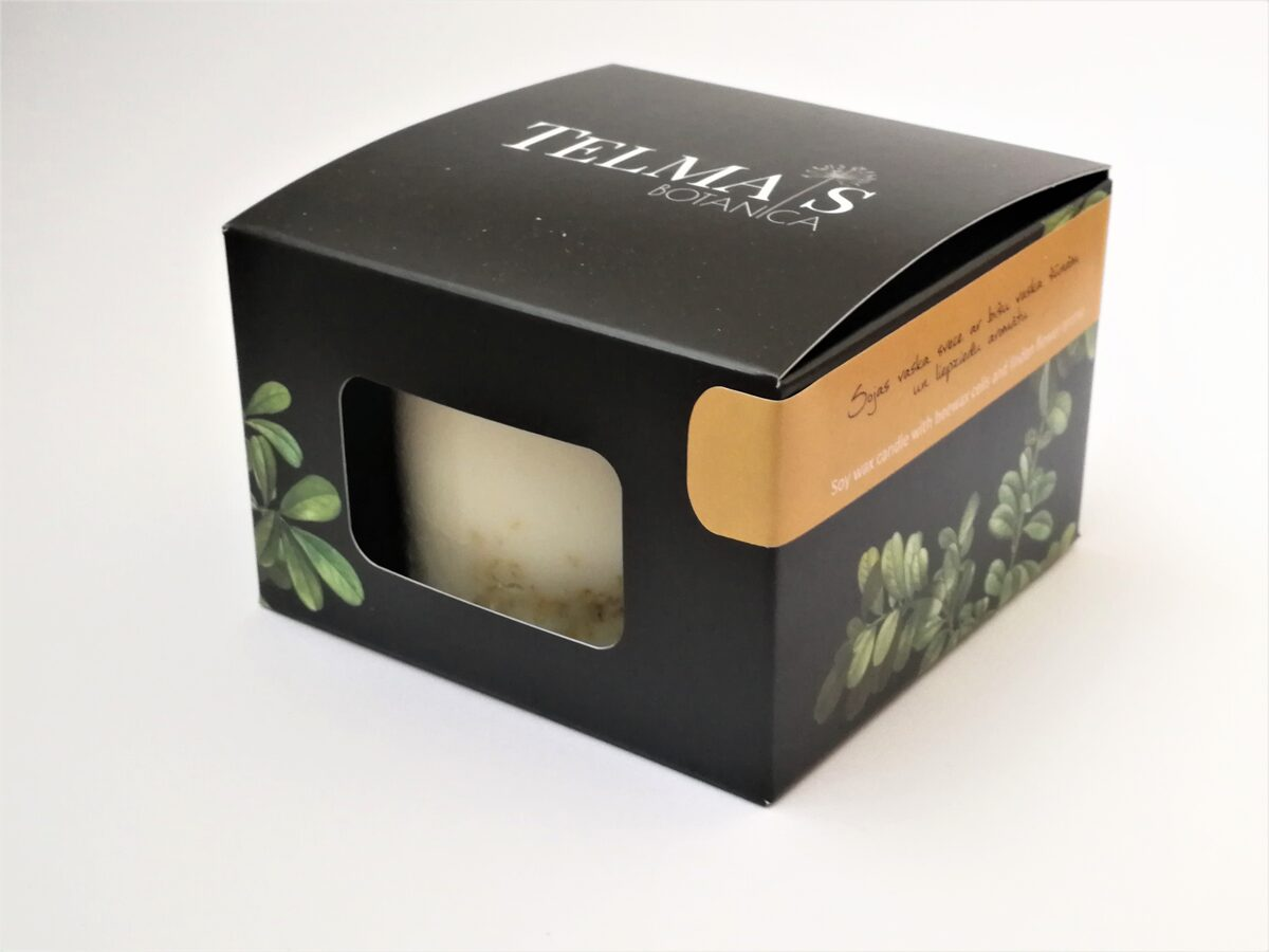 Soy wax candle with honey cells and linden aroma - S size