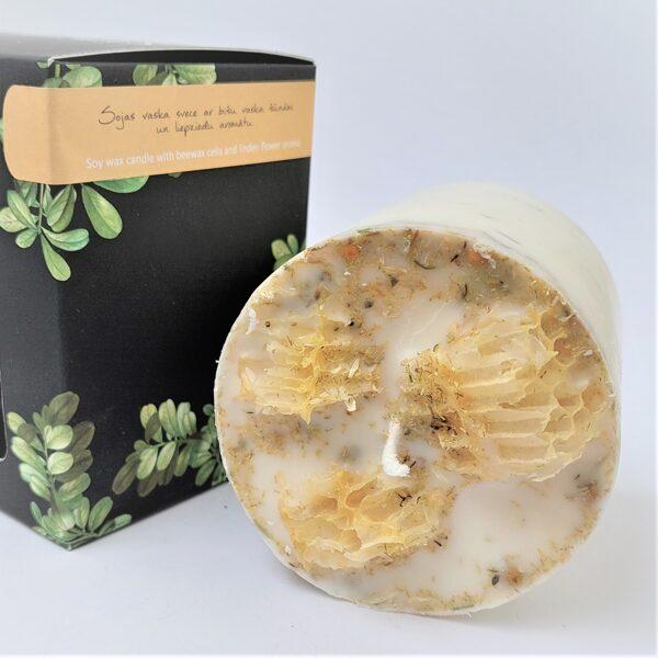 Sojas vaska svece ar bišu vaska šūnām un liepziedu aromātu - L izmērs