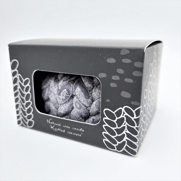 """Knitted candle """"Little Coziness""""/ gray / with box"""