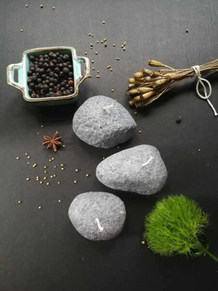 Stone candles or pebble candles made of vegetable stearin wax, Small