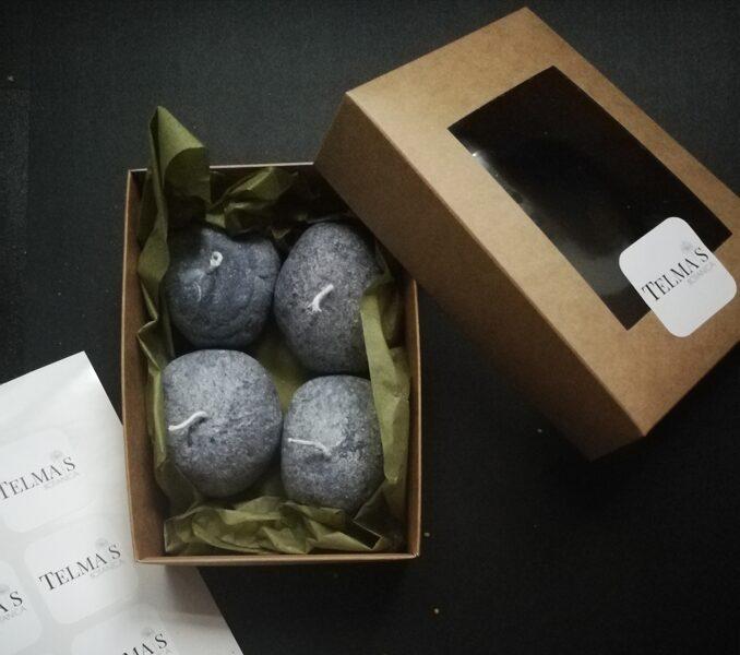 Olīši vai akmens sveces, augu stearīns, mazi, 4gb komplekts