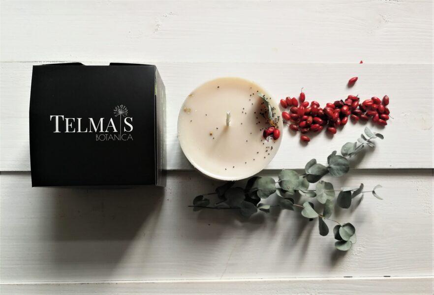 Sojas vaska svece ar augiem un tabakas un ozolmizas aromātu